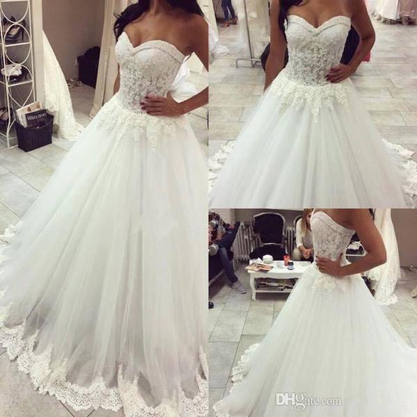2018 Sexy Sweetheart Lace Beaded A-line Wedding Dresses Elegant Sheer Backless Trim Beach Bridal
