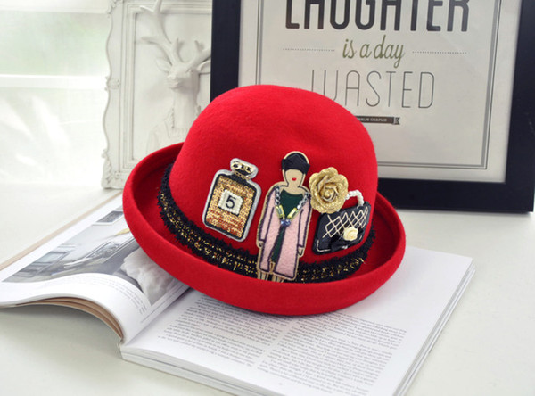 2019 new hot style fashionable fashion eleven sichuan Korean edition autumn winter lady's curling bowler hat stick cloth flower fashion vers
