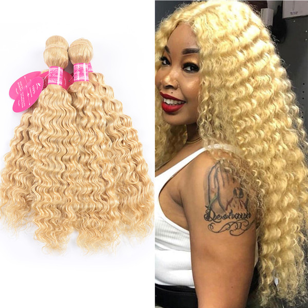 Hair Weft Blonde Brazilian Deep Wave Bundle 8 24 Inch Remy Human Hair Weave Platinum Blonde 1 Bundles Hair Extensions Weft Remy Remy Weft Hair From