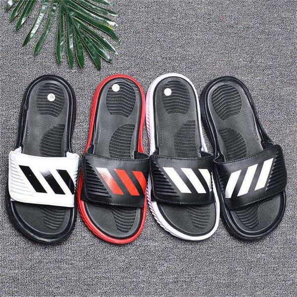 low priced af3f7 47eef Acquista Brand New Men Pantofole Sportive Ciabatte Piatte Sandali Pantofole  Fascia Flessibile Suola Infradito Spiaggia Causale Pantofola Con Scatola A  ...