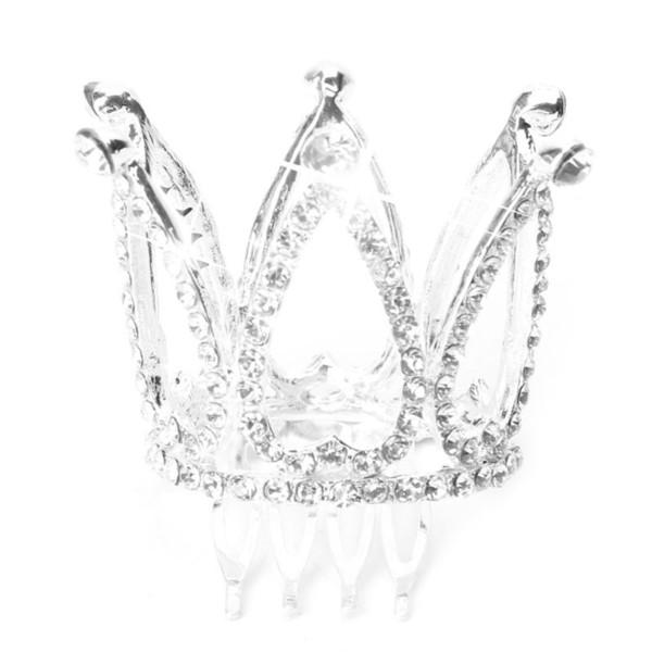 Mini Women Girl Rhinestone Crown Bridal Tiara Hair Comb Pin For Wedding Party D19011103