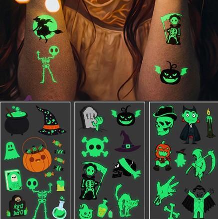Tatuaje luminoso de Halloween Fantasma para niños Tatuaje falso con pegatinas de tatuaje temporal a prueba de agua que brillan en la oscuridad