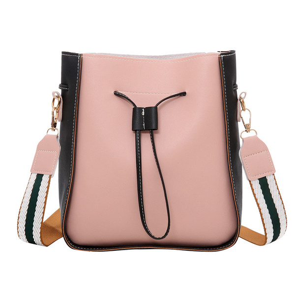 Women's Fashion Bucket Bag Color Stitching Shoulder Handbags British Fashion Simple Small Square Canta Commute Messenger Bag YL4