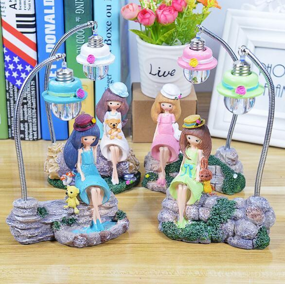 Crepe Girl Night Light Creative Home Resin Small Table Lamp Opening