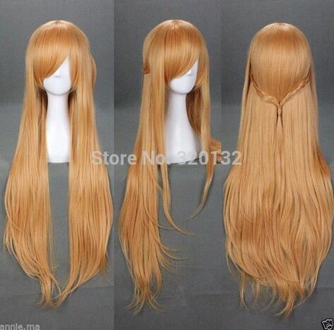 "inches 40"" Light Brown Sword Art Online Asuna Yuuki Cosplay Wig Long Light Hair Wig Hair wigs Free Shipping"