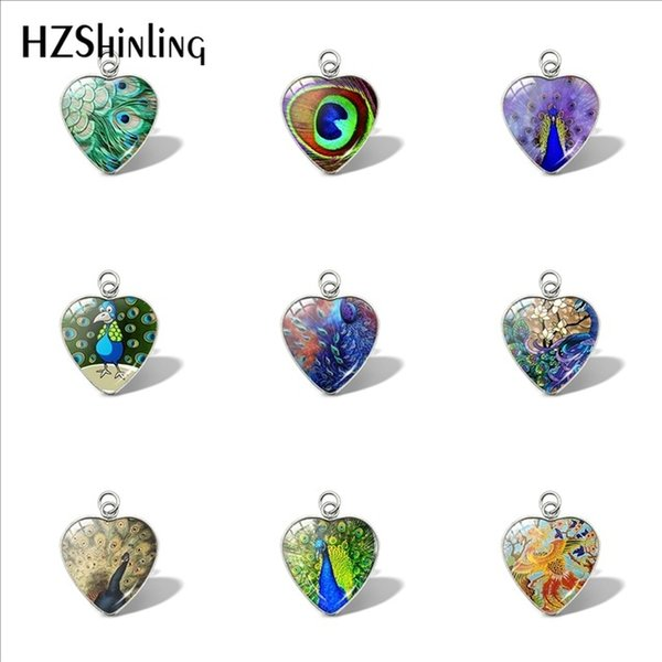 2019 new peacock heart pendant peacock feather handmade pendants glass dome cabochon jewelry personalized picture necklace, Bronze;silver