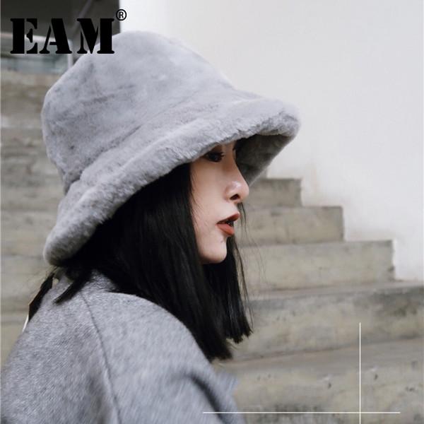 [EAM] 2019 molla del Tutto-fiammifero Nuovo modello piatto peluche cappello Donna Solid colore tenere il cappello pescatore caldo Fashion 4 colori YA600