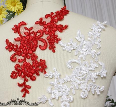 1PC 25*12.5cm Gold/White/Black/Pink/Red Wedding Dresses Applique Accessories Embroidery Lace Applique Fabric