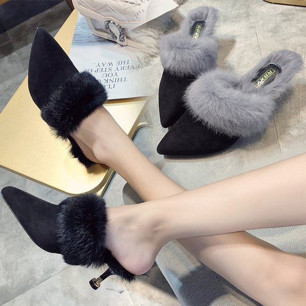 Kış kapalı sivri burun peluş katırlar terlik kadınlar 3 renkler kürk yüksek topuklu bayanlar dışında kabarık kürklü ayakkabı flipfloplar mujer