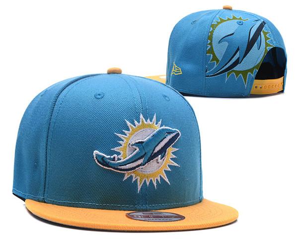 NEW Men's Dolphins Fan's Adjustable Hat Fashion Brand Hip Hop Flat Brim Women Snapback Cap Men Women Bonnet Street Bone