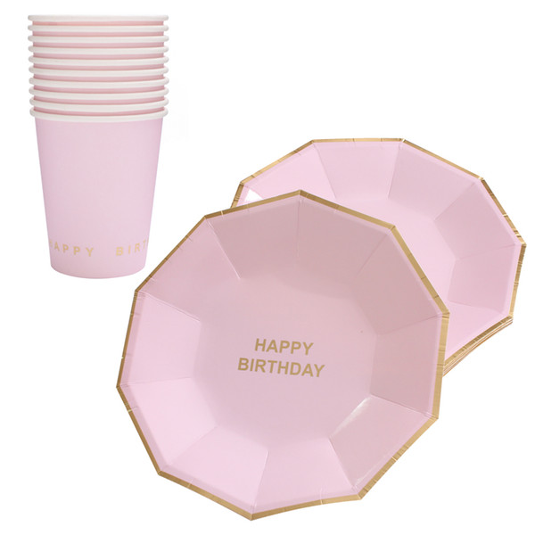 best selling 10pcs set Gold Foil Pink Disposable Tableware Christmas New Year Party Paper Plates Cups Birthday Party Supplies Plastic Straws