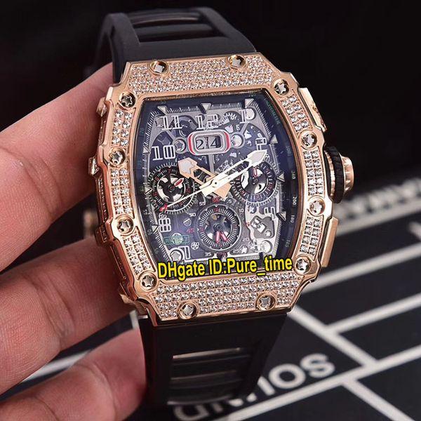 Big Date New Flyback Chrono RM11-03 Skeleton Dial RM11 Reloj automático para hombre 11-03 Rose Gold Diamond Case Correa de goma negra Relojes deportivos