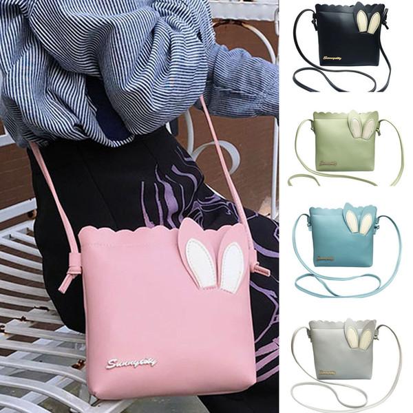 Coneed 2019 New Fashion Women Solid Color Cute Cartoon Rabbit Ears Shoulder Messenger Bag Mobile Phone Bags June 6 P35
