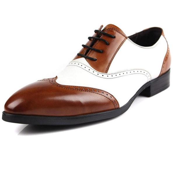 Großhandel MYCOLEN Herren Kleid Schuhe Spitz Herren Echtem Leder Oxfords Hochzeit Business Weiße Schuhe Schnüren Mode Wohnungen Von Paradyse, $449.26