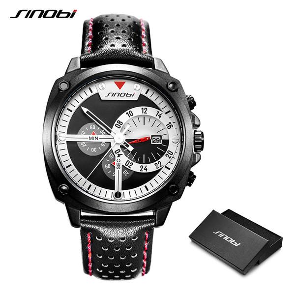 fa303dd20b Sinobi 2019 homens relógio esportivo à prova d  água cronógrafo relógio de couro  preto dos