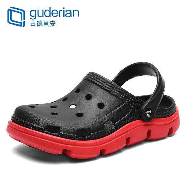 GUDERIAN Homens Sandálias de Praia Oco Out Mens Calçados Sandálias de Couro Da Moda Homens Sapatos de Verão Luz Chinelos Casuais Homem