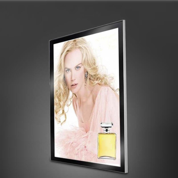 Silver or black aluminum profile magnetic light box wall mounted light box for co metic po ter di play with wooden ca e packing 60 90cm