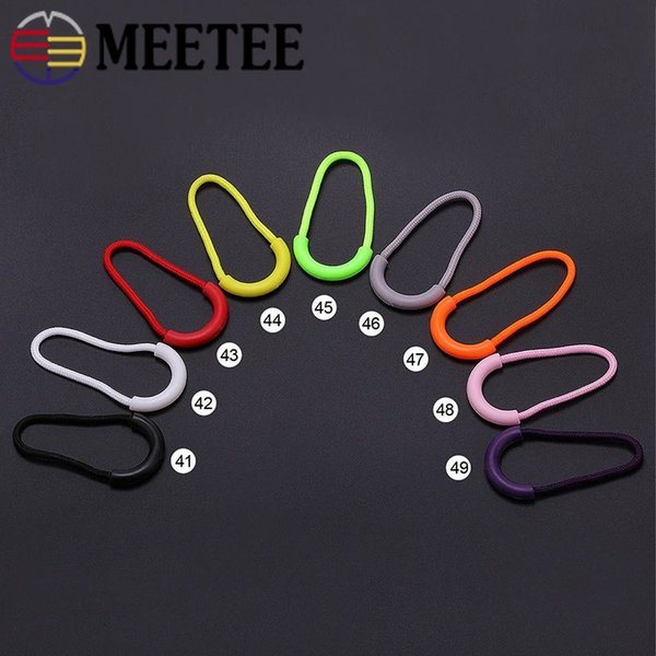Meetee PVC Cord Zipper Pullers Rope Ends Lock Zipper Pulls Replacement Clip Slider Cord Travel 31x60mm Bag Garment Accessories KY975