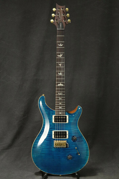 best selling Custom 24 10 Top Pattern Thin Aquamarine Electric Guitar Blue Flame Maple Top Signature China Made Guitars