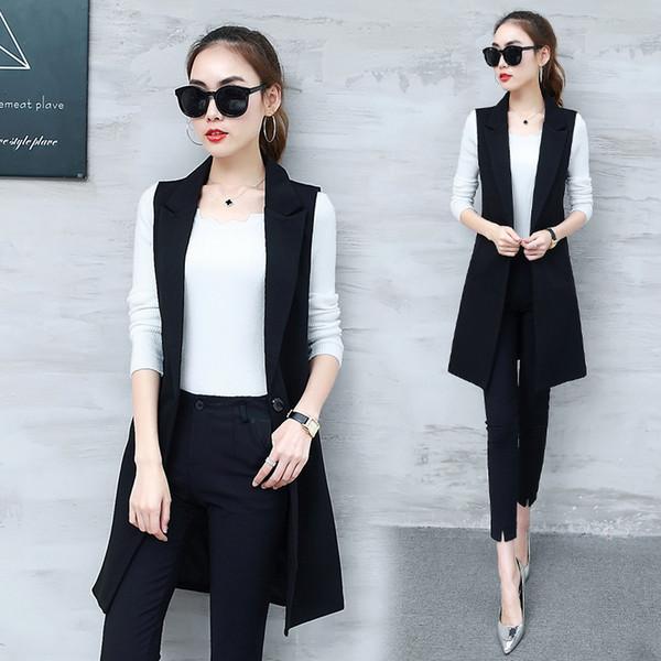 Senhora do escritório Preto Cinza Casual Longo Colete Mulheres Coreano Moda Blazer Sem Mangas Colete Casacos Outerwear Senhoras Fino Colete