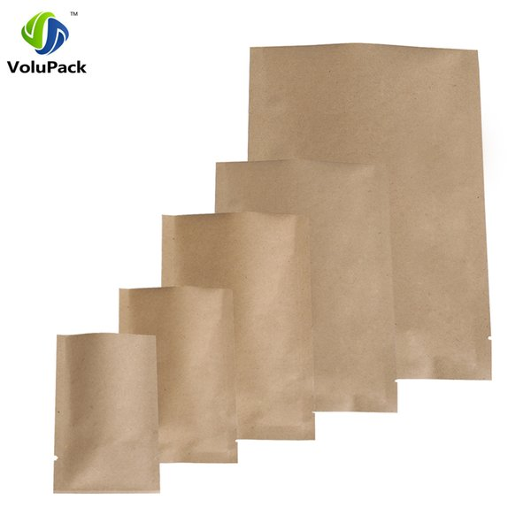 14C Thickness! 100pcs Multi Sizes High Quality Tear Notch Package Bags, Heat Sealing Foil Mylar Open Top Kraft Paper Bag