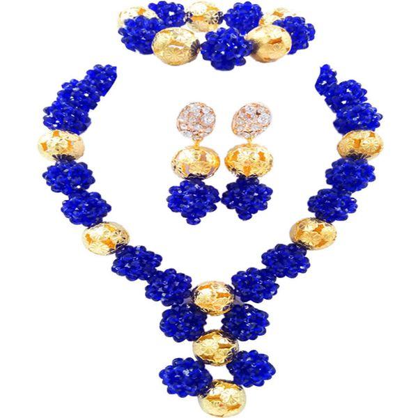 Royal Blue Nigerian Wedding African Beads Jewelry Set Crystal Ball Beaded Necklace Bracelet Earrings 1SJQ01