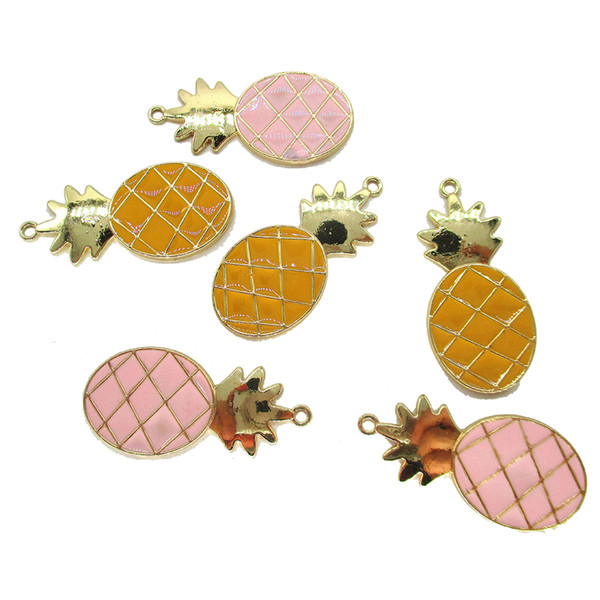 10pcs/lot 18*37mm Alloy pineapple Enamel Charms Gold blue pink Color Small Charms Handmade Jewelry for Necklace Bracelet Making
