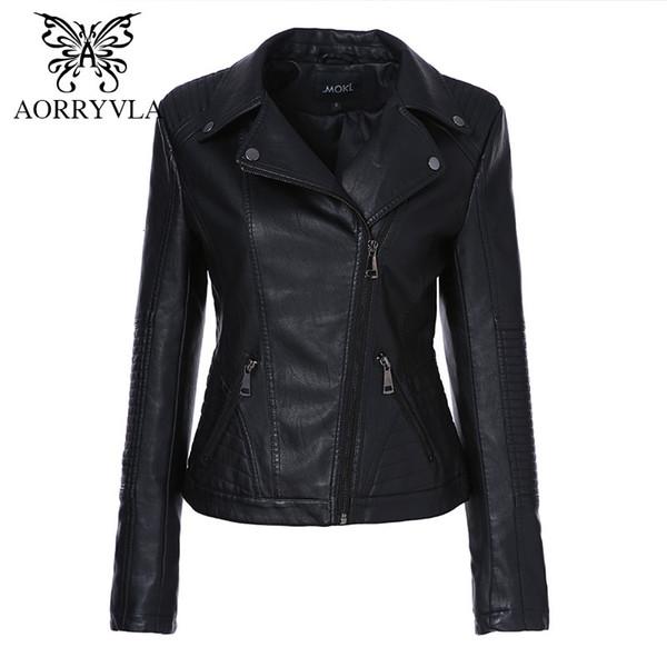 AORRYVLA 2019 Nouveau Automne Femmes Faux Veste en cuir mode couleur Noir Turn-Bas Col tirettes court dames veste en cuir PU Y190920