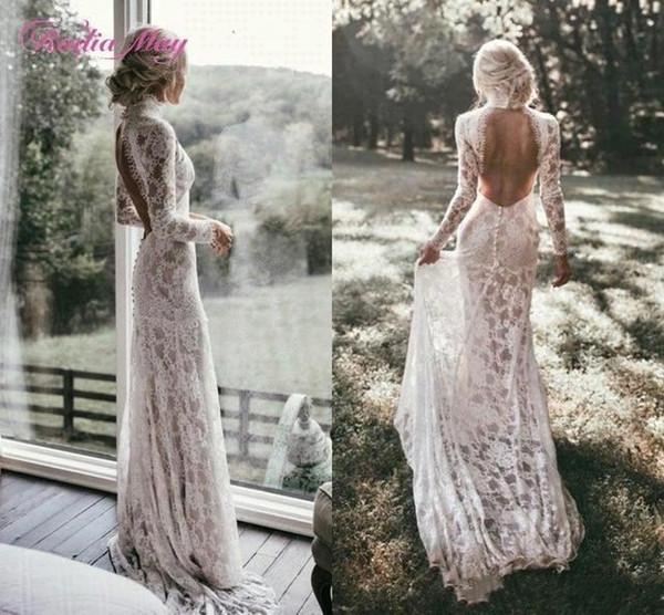 Boho manches longues robes de mariée en dentelle Vintage 2019 col haut dos ouvert Chic Beach bohème pas cher dos nu robes de mariée BC2028