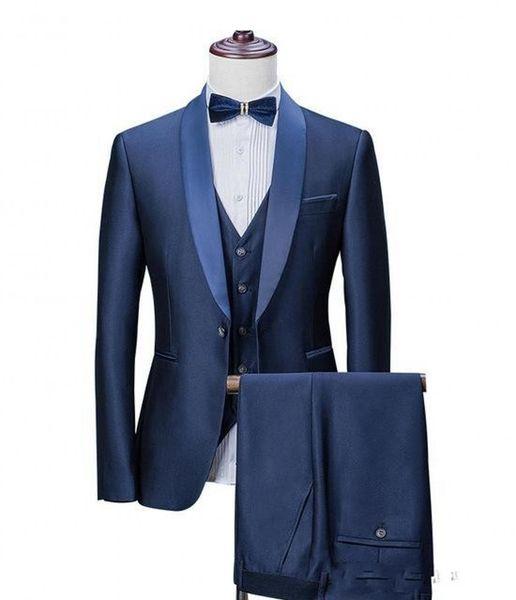 Brand New Navy Blue Groom Tuxedos Shawl Lapel Groomsmen Mens Wedding Dress Popular Man Jacket Blazer 3 Piece Suit(Jacket+Pants+Vest+Tie) 882