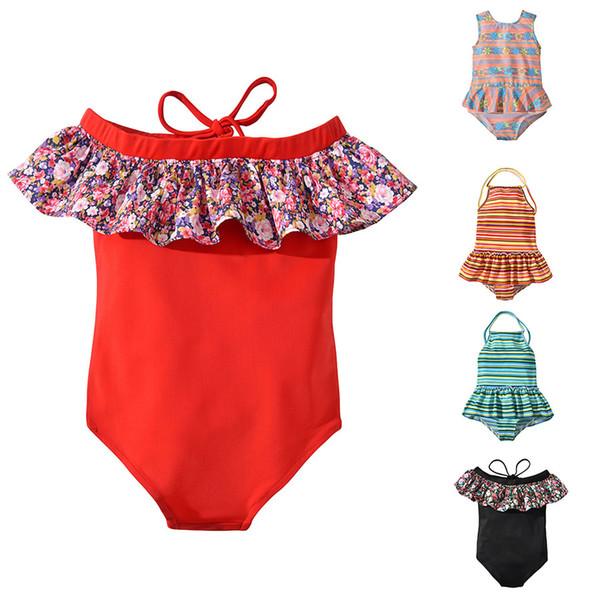 Дети в полоску с цветочным принтом Купальники 2019 летние оборки с плеч Купальный костюм бикини детский купальник 5 шт