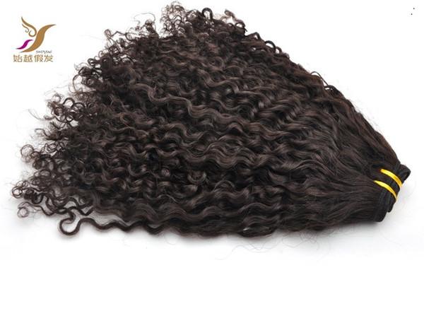 Color puro 100% de armadura de cabello humano Paquetes Mongol Afro rizado Rizado Tejer 10-30 pulgadas Sin procesar Doble trama Virgen pelo