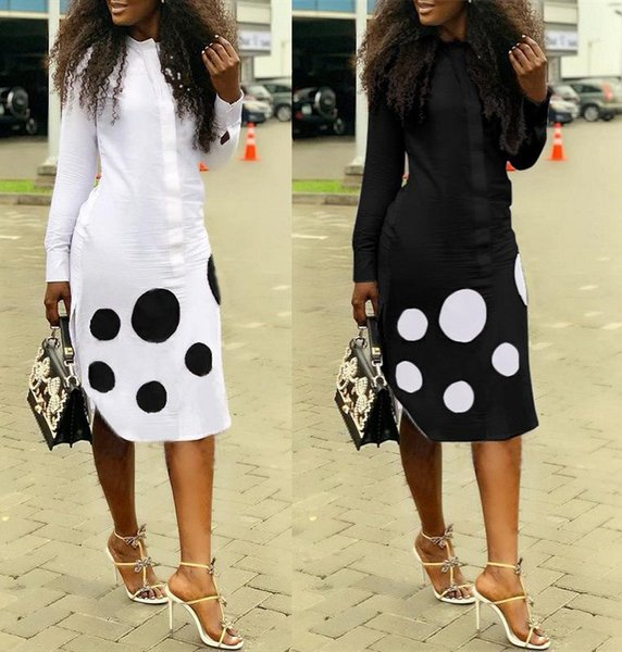 Side Split Fashion Straight Shirt Dress Spring Button Up Long Sleeve Knee Length Robes Office Lady 2 Color Dot Blouse Robe