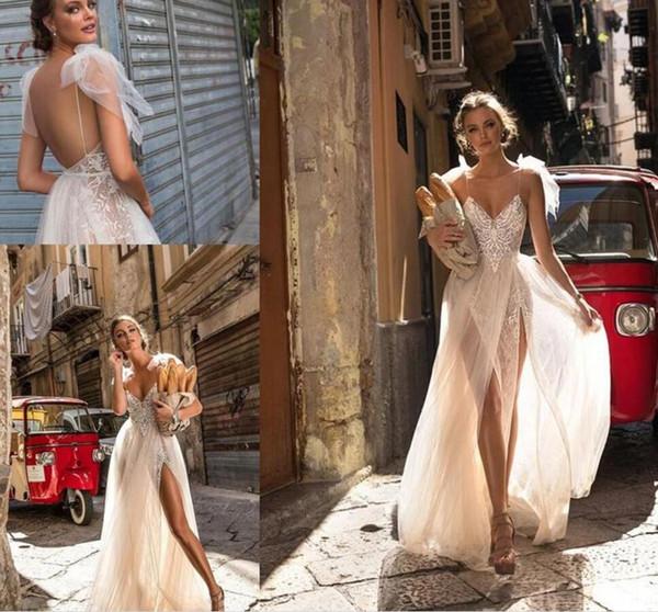 2019 Beach Wedding Dresses for Greek Goddess Simple Brides Wear Sale Cheap Long Pleated Split Full Length Skirt Bohemian Boho Bridal Gowns