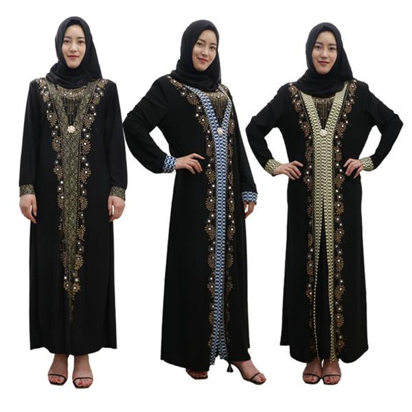 Estampado en oro de impresión Abaya vestido musulmán mujeres Dubai Abaya negro Robe Diamond Cardigan Kaftan elegante diseño Maxi vestidos