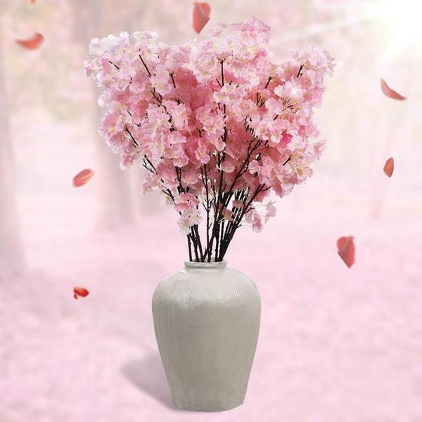 120pcs Silk Flower Cherry blossom flower Wedding Silk Flower Artificial Sakura 2 Color Option High Quality Vases Home Decoration