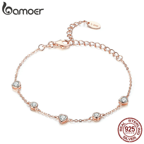 925 Sterling Silver Heart Rose Gold Color Women Bracelets Chain Lobster Clasp Bracelet Jewelry Anniversary birthday Gift