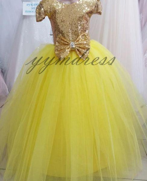 Pageant Robes De Fille Jaune Léger Tulle Etage Longueur Enfants Vêtements Habits Pour Robe De Mariage Mode Robes De Fille De Fleur
