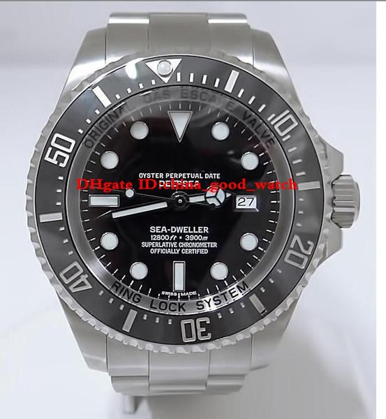 Reloj de lujo de 2 colores Sea-dweller SEA DWELLER para hombres 116660 44mm Reloj personalizado con esfera negra Reloj de buceo FECHA Relojes automáticos para hombres