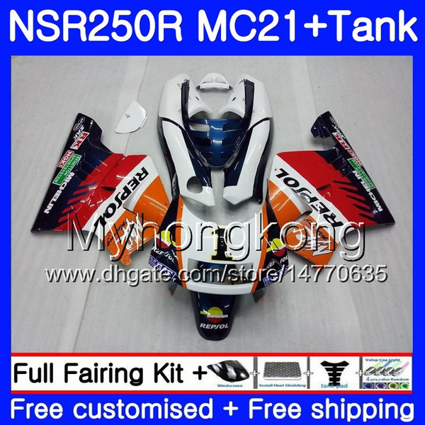 Injection For HONDA NSR 250R 250 R MC21 PGM3 NSR250R 90 91 92 93 264HM.17 NSR250 R RR NSR250RR Repsol orange 1990 1991 1992 1993 Fairings