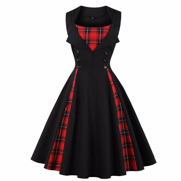 Plus Size 5xl Vestido Audrey Hepburn Roupas Femininas Sem Mangas Vermelho Preto Xadrez Impressão Verão 50 s Vintage Rockabilly Swing Vestidos Y190417