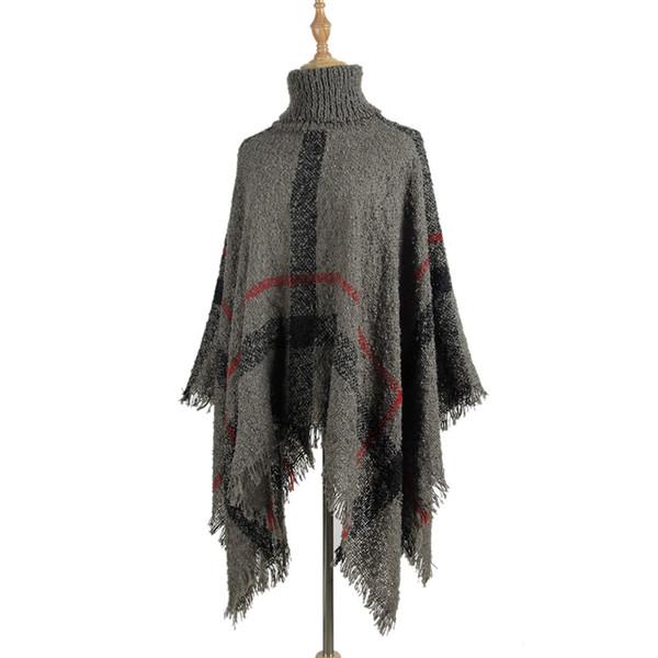 Women's Fashion Sweater European and American Medium Long High Collar Tassel Cloak Shawl Sweater 2019 Spring Winter Pullover Sweaters