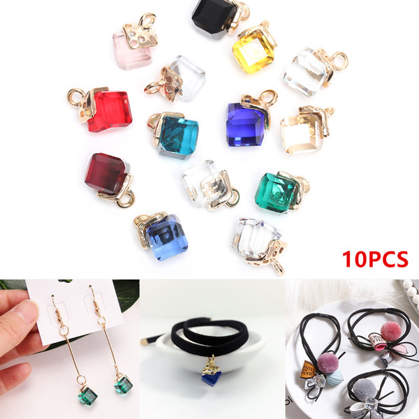 10pcs Cube Glass Loose Beads 14 Colors Square Shape 2mm Hole Austrian Crystal Beads for DIY Jewelry Making Beadwork
