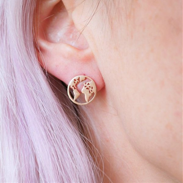 best selling Fashion Gold Silver World Map Stud Earrings Round Hollow Personalized for Women Girls Globe Traveler Jewelry