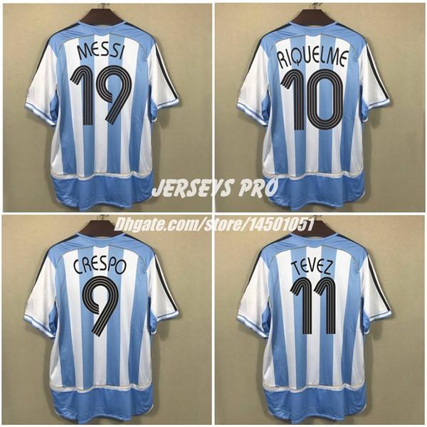 Retro Soccer Jersey Argentina World Cup 2006 Home Camicie Messi 19 Carlos Tevez Roman Riquelme Cambiasso Crespo Gabriel Heinze Pablo Aimar