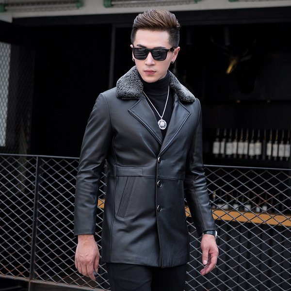 Motorcycle Jacket Mens Leather Jackets Clearance Haining Leather New Male Sheep Skin And Long Furs In Cotton Wool Detachable