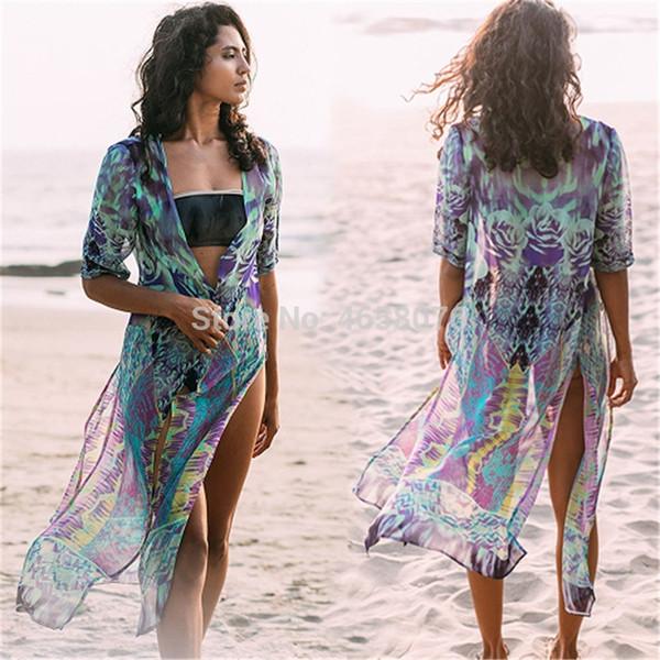 New Print Chiffon Beach Cover up Sarong Beach Dress Wrap Robe de Plage Bikini Cover up Pareo de Plage Beachwear