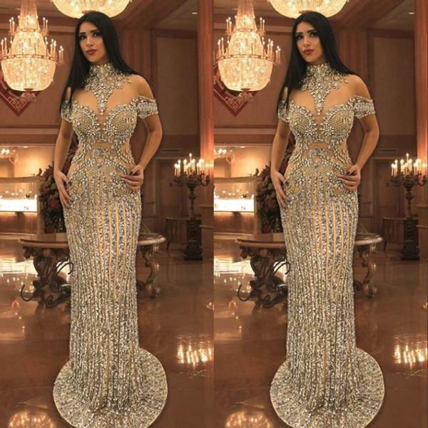 Les cristaux arabe strass soir Robes de mariée perles cou à manches courtes Sparkly sirène robe de bal de superbes robes de célébrité Dubai