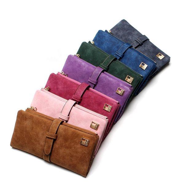 Women Wallets Drawstring Nubuck Leather Zipper Wallet Women's Long Design Purse Two Fold More Color Clutch MMA1416