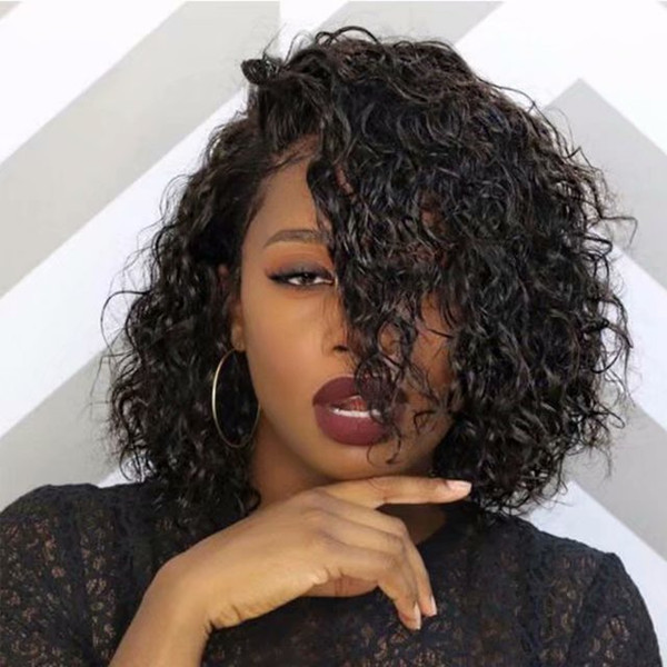 Sexy Short Bob Curly Human Hair Wigs For Black Woman Full Lace Wigs With Baby Hair Pre Plucked Virgin Hairline Short Wigs Curly